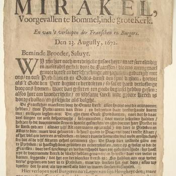 Pamflet over het Mirakel Zaltbommel in de Grote Kerk te Zaltbommel. Druk: S. Vlieger, 1672.