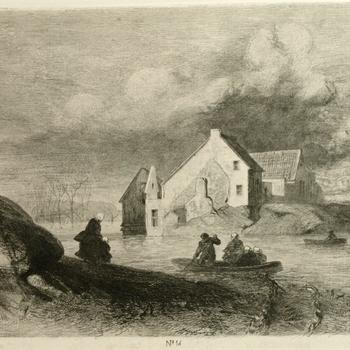 Gezicht op de dijkdoorbraak te Lith, 23 maart 1855. Ets, C. Rochussen.