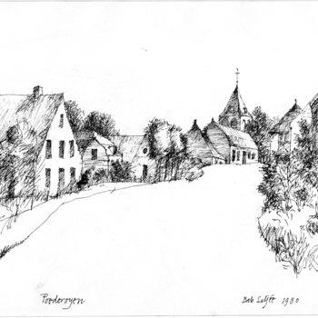 Gezicht op het dorp Poederoyen, pentekening door Bab Siljée in 1980.