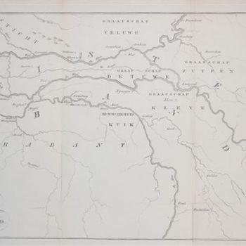 Kaart van het graafschap Teisterbant met stroomgebied van de rivieren Maas, Rijn, Waal en Linge. Gravure, D. Veelwaard.