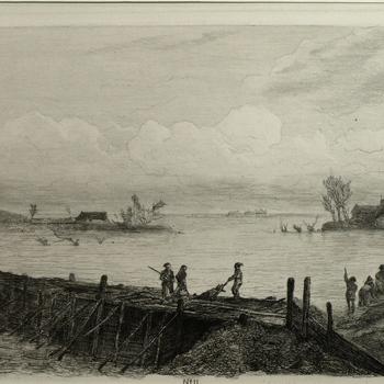 Gezicht op beringing van de doorbraak te Spees watersnood 9 maart 1855. Ets, M. ten Kate.
