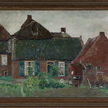 """schilderij, olieverf op paneel """"Dorpsgezicht Well (gld)"""" 1942  Gerard Menken"""