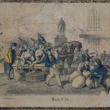 schoolplaat, markt. Kleurenplaat met kooplieden op de markt welke hun waren in manden, zakken en op tafel hebben uitgestald. No. 26. Periode 1857-1900