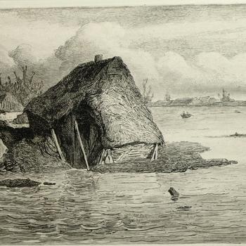 Gezicht op het dorp Dreumel, Watersnood 8 maart 1855. Ets, H.J. Scholten.
