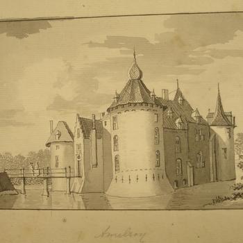 kasteel Ammerzoden met torens, ophaalbrug en gracht. Pentekening, ongedateerd.