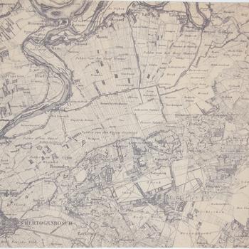 Deel van een topografische kaart met o.a. Rossum, Hurwenen en Driel. Topografische aanduidingen. Lichtdruk.