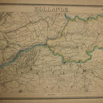 Topografische kaart van o.a. de Bommelerwaard, Krimpener- Albasser- en Tielerwaard. Franse opschriften. Gekleurd. E.G. de Bruxelles.