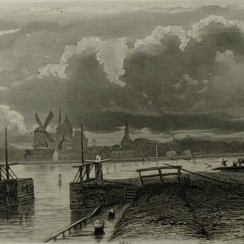 Gezicht op de watersnood, 24 maart 1855 in Den Bosch van de sluis op de Z. Willemsvaart. Ets., D.J. Sluyter.