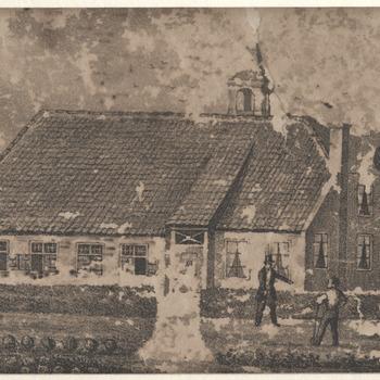 Steenoven, Brakel. Langgerekt boerderijachtig gebouw met torentje. Litho..