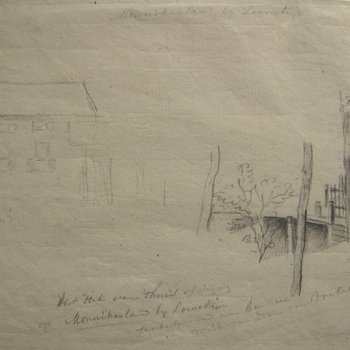 Monnikenland bij Loevestein. Dubbelblad met hek of ingang huis van de heer van Dam van Brakel.  Potloodtekening met watermerk.