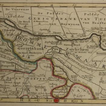 Kaartje van de Bommelerwaard. Topografische aanduidingen met plaatsen, heerlijkheden en gerichtsbanken. Gekleurde gravure.