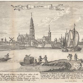 gezicht vanaf de rivier de Waal op Zaltbommel met bolwerken en torens. Franse en Spaanse teksten met het jaar 1600 en 1672. Gravure, F. Bouttast Jr., periode 1672-1680.