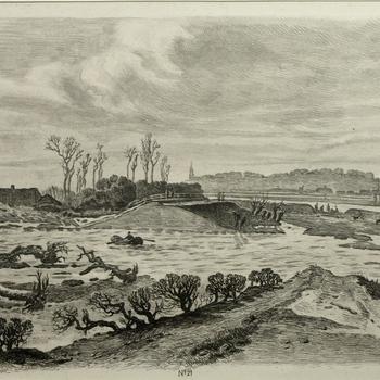 Gezicht op de dijkdoorbraak van de Bandijk te Ingen, 23 maart 1855. Ets, J.L. Sörensen.