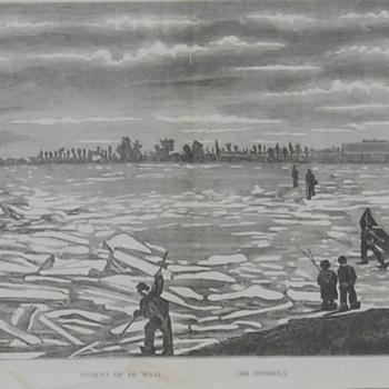 bevroren Waal met ijsschotsen bij  Zaltbommel. Op de achtergrond spoorbrug met stoomtrein. Gravure, H. Castst, ongedateerd.