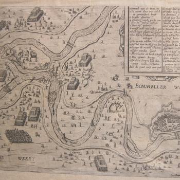 Plattegrond gebied tussen Maas en Waal tijdens beleg van Zaltbommel in 1599. Troepenconcentraties van Spaanse en Staatse troepen. Gravure. Franse teksten.