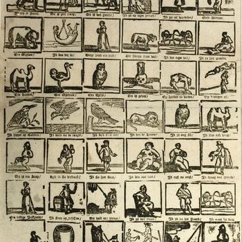 Centsprent met twee en veertig prentjes over diverse mensen en dieren. Versjes. Houtsnede,Erve H. Rijnders.