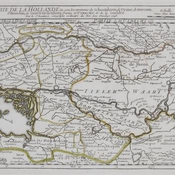 Kaart van o.a. Bommelerwaard. Topografische aanduidingen. Franse opschriften. Gravure, gekleurd. Sr. Robert. 1748.