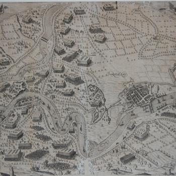 Kaart Bommelerwaard tijdens beleg van Zaltbommel in 1599 met Spaanse en Staatse troepen. Latijnse opschriften. Gravure.
