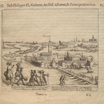 Beleg van Zaltbommel in 1599 gezien vanaf de Tuilse kant. Opschriften in Latijnse taal. Gravure. Ongedateerd.