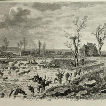 Gezicht op de dijkdoorbraak te Lienden, 24 maart 1855. Ets, J.L. Sörensen.