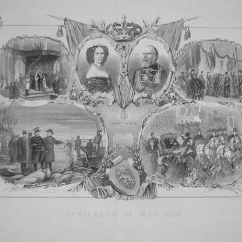 Centraal binnen twee gekroonde ovalen  Willem III en zijn gemalin. opschrift: Jubileum, 12 mei 1874. Gravure, Gebr. Kraay.