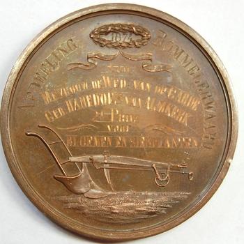 """In brons geslagen penning """"Geldersche Maatschappij van Landbouw"""""""