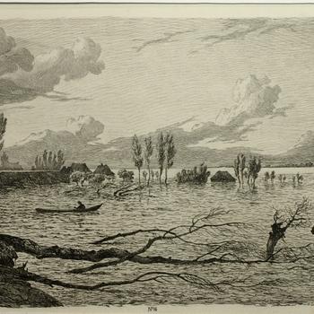 Gezicht op de dijkdoorbraak Maren en Alem, watersnood 1855. Ets, G.A. Roth.