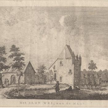 Gezicht op het slot  Well aan de Maas met twee overkragende torentjes. Gravure.