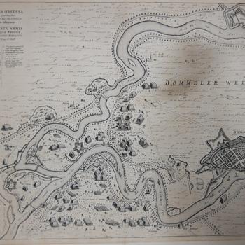 Overzicht gebieden tussen Maas en Waal met troepenverplaatsingen en kampementen tijdens beleg van Zaltbommel. Gravure Joh. Blaeu, 1649.