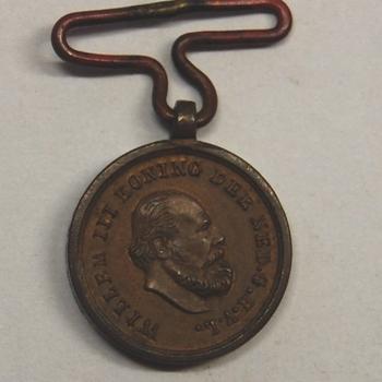 penning Watersnood 1876. Voorzijde: Portretkop Willem III met omschrift. Keerzijde: lauwerkrans met tekst watersnood. Ophangoog. Brons.
