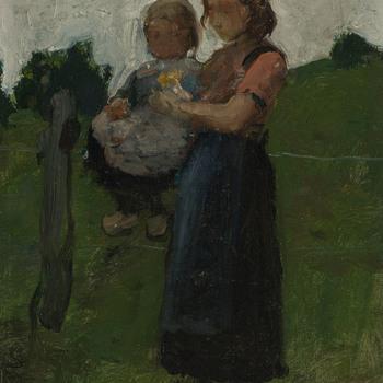 Boerenmeisje met kind op de arm