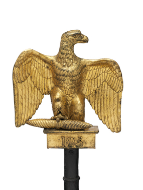 "A French ""Eagle"" standard, captured by the British at the Battle of Waterloo. Every French Regiment had its own Eagle, personally presented by Napoleon, which was a symbol of the unit and guarded fiercely."