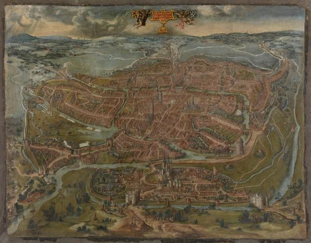 Panoramisch gezicht op Gent in 1534