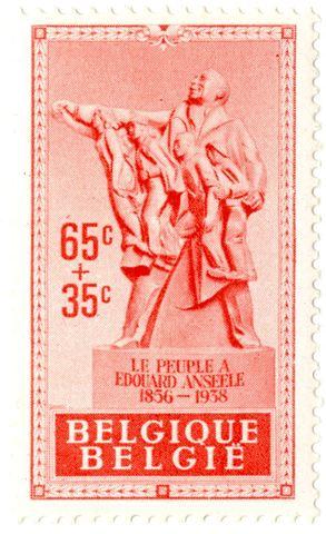 Postzegel met standbeeld van Edouard Anseele