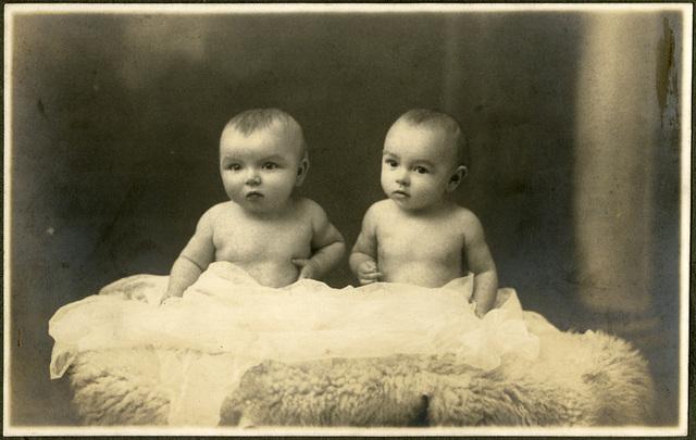 Studioportret van tweelingzusjes op schapenvacht, 1930