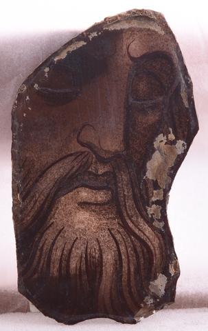 glasraamfragment, man met baard