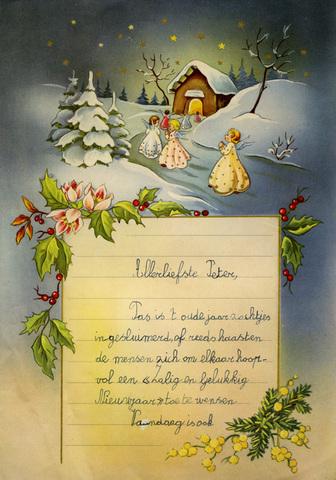 Nieuwjaarsbrief gericht aan peter, Melle, 1 januari 1960