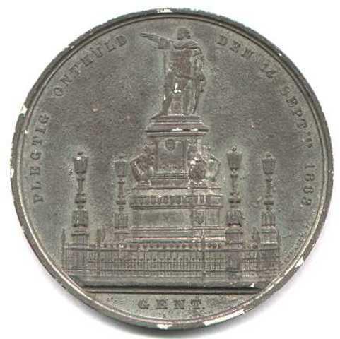 Gedenkpenning inhuldiging monument Van Artevelde, 1863