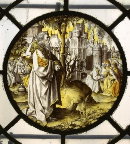 De geschiedenis van Abraham: Abraham ziet de brand van Sodom