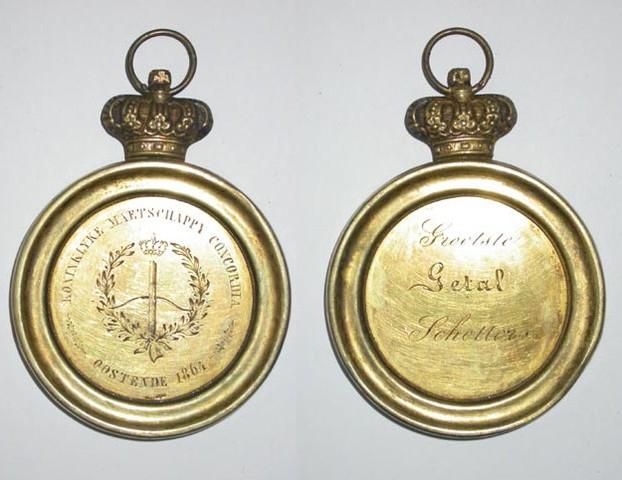 Prijspenning voor het grootste getal schutters, boogschieting te Oostende door Concordia, 1864