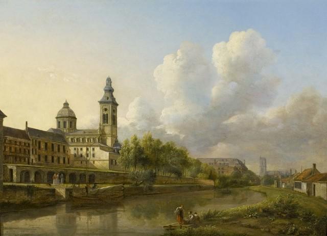 Gezicht op de Sint-Pietersabdijkerk en de Schelde
