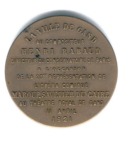 Eerbetoon van de Stad Gent aan H. Rabaud, 1921