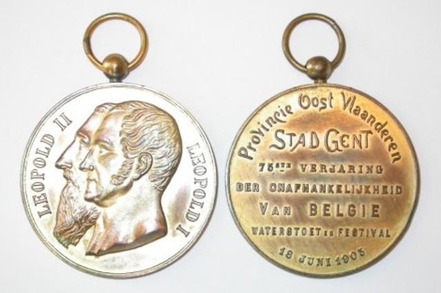 Gedenkpenning van de Stad Gent voor de 75ste verjaring van België, 1905