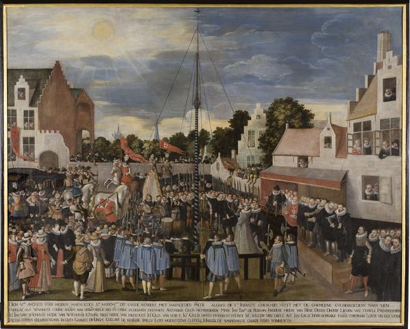 Aartshertogin Isabella op de schieting van het Sint-Jorisgilde te Gent in 1618