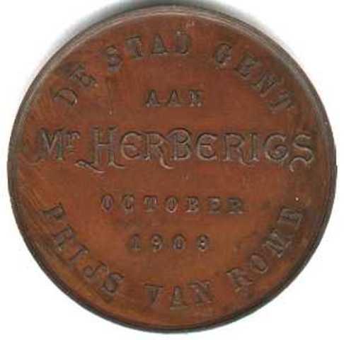 Erepenning aan Herberigs voor het behalen van de  Prijs van Rome, 1909