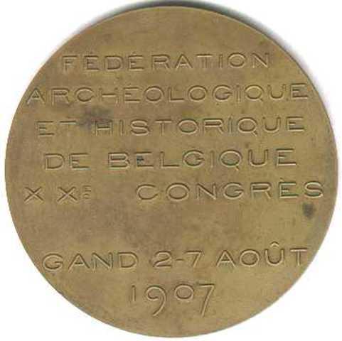 Gedenkpenning 20ste congres Fédération Archéologique et historique de Belgique, 1907