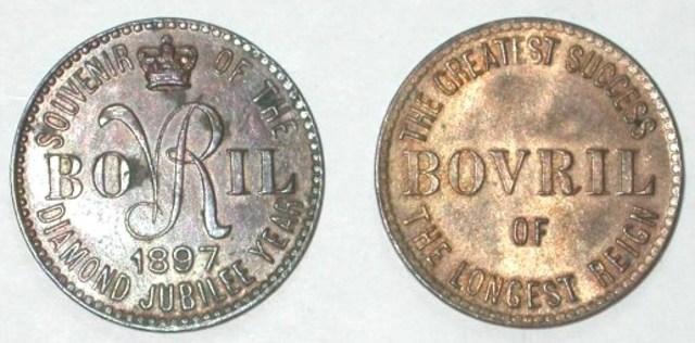 Engelse publiciteitspenning van de firma Bovril uit Parijs en Londen uitgebracht ter gelegenheid van het regeringsjubileum van koningin Victoria, 1897