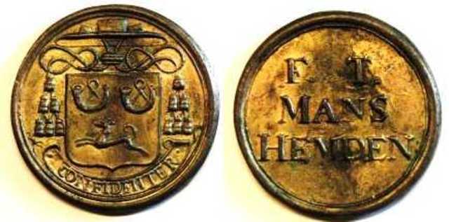 Armenpenning van Antonius Triest voor manshemden, z.d.