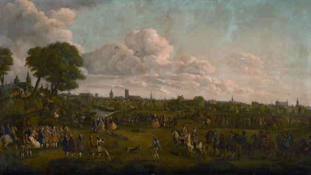 Lodewijk XV schouwt de Franse troepen voor Gent