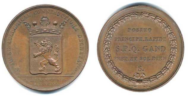 Gedenkpenning eerste steenlegging Aula Universiteit Gent, 1819